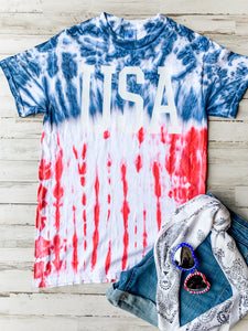 USA (White Ink) Flag Tie Dye Tee