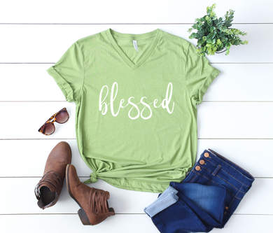 Blessed (new) Heather Green V Neck