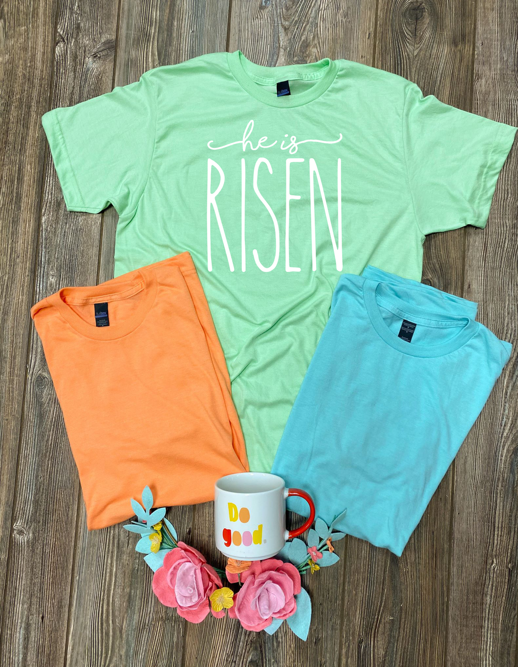 He Is Risen (White Ink) Tee DROPSHIP