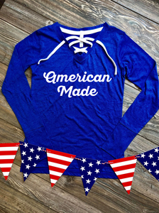 American Made Women's Lace Up Jersey Tee