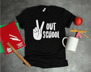 Peace Out School Adult Tee