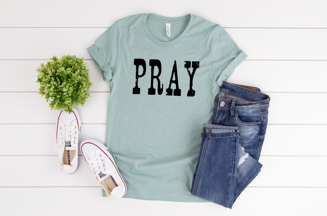 Pray Tee (Heather Prism Dusty Blue) DROPSHIP
