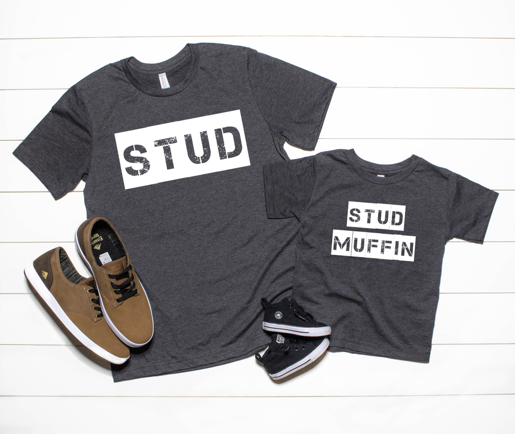 Stud Muffin Kids Tee (Dark Grey Heather Bella) DROPSHIP