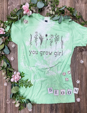 You Grow Girl (Neo Mint) Distressed Tee