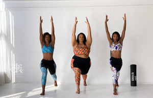digitalKENTE Spring Summer 2020 collection of kente and ankara inspired prints applied to high-rise yoga leggings.