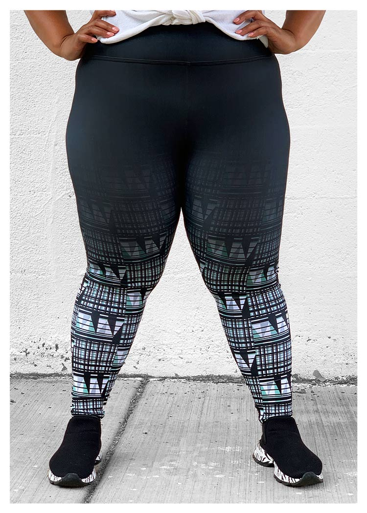 Full Length High Waist Leggings Blk&Grn Ombré
