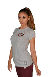 Womens Grey/Red/Black Heart T Shirt