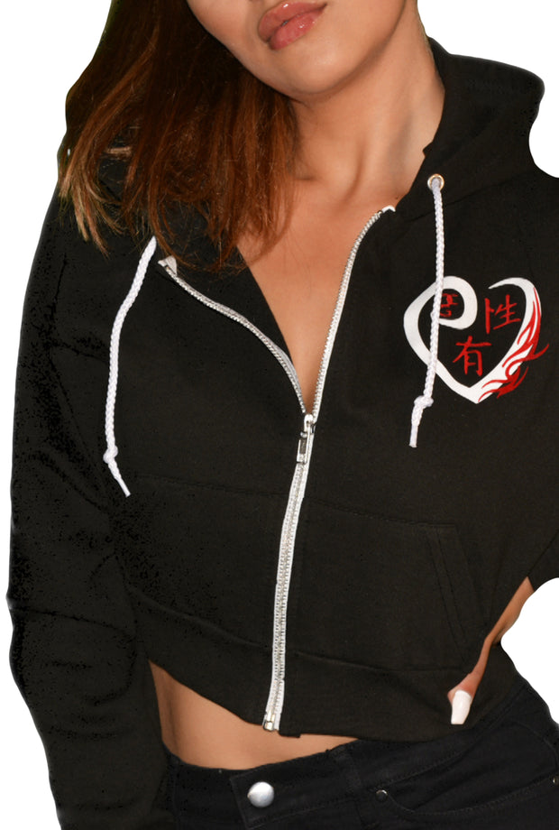 Womens Black/Red/White Heart Crop Hooded Top