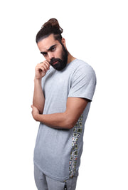 Cultural  Inspired Print O.G. Grey Long Panel T-Shirt