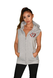 Womens Grey/Red/Black Heart Sleeveless Hooded Top