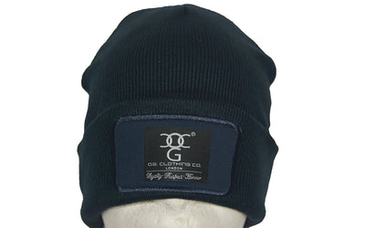 Navy Blue  turn up beanie, with official patch