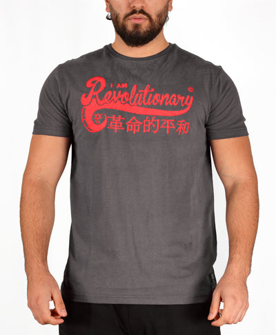 Mens Dark Grey/Red I Am Revolutionary T Shirt