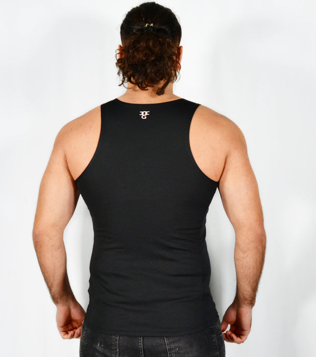 Mens O.G 1 Sports Black Fit Tank Vest Top