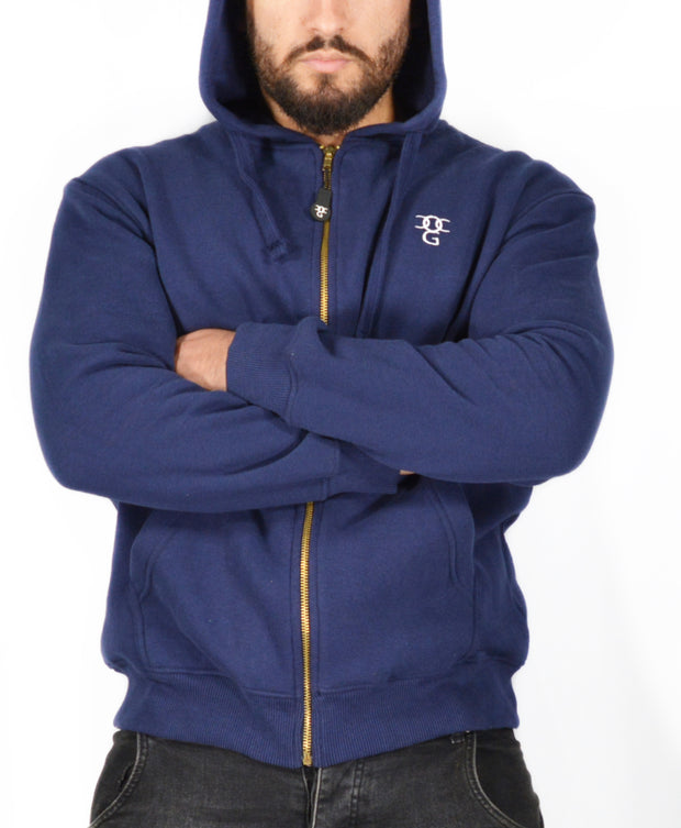 Mens O.G. Symbol Blue Zipped Hooded Top
