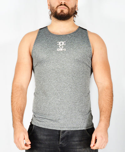 Mens O.G 1 Sports Grey & Black Fit Tank Vest Top