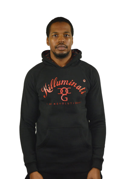 Mens Black / Red Killuminati Pullover Hooded Top