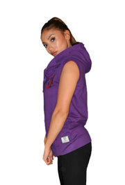 Womens Violet/Red/Black Heart Sleeveless Hooded Top