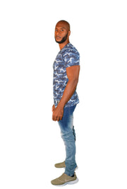 Mens Blue Camouflage OG T Shirt