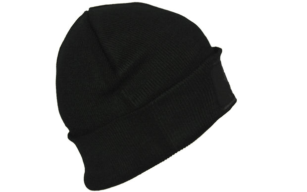 Black turn up beanie, with official patch