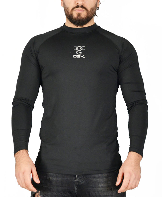Mens O.G 1 Sports Base layer Black Long Sleeve Compression Shirt
