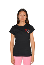 Womens Black/Red/White Heart T Shirt
