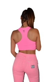 Womens Pink/Black Empower Crop Top