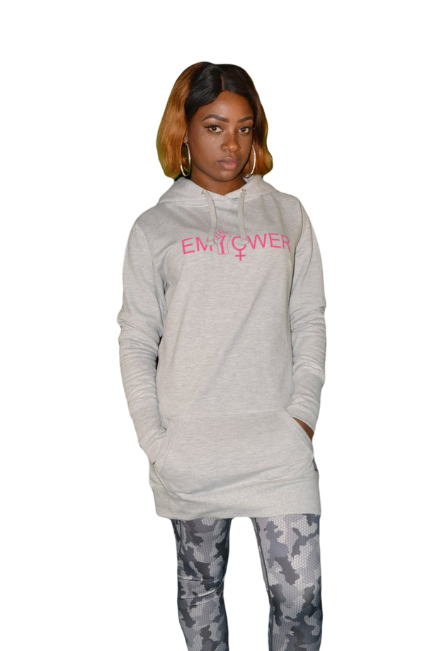 Womens Grey/Pink Empower Hooded Top
