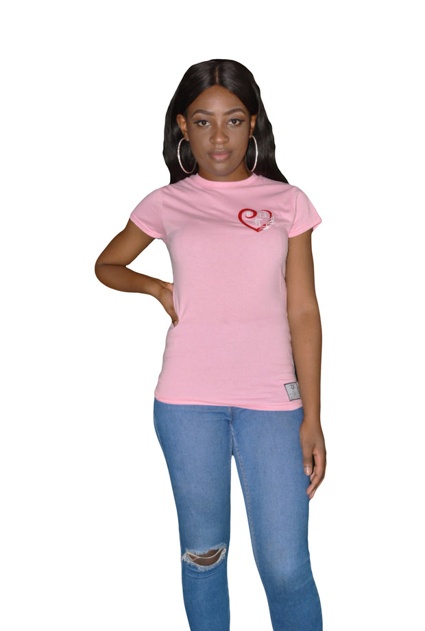 Womens Pink/Red/White Heart T Shirt
