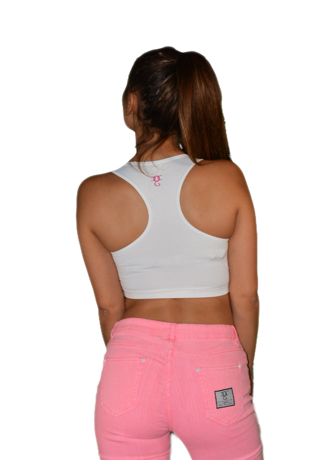 Womens White/Pink Empower Crop Top