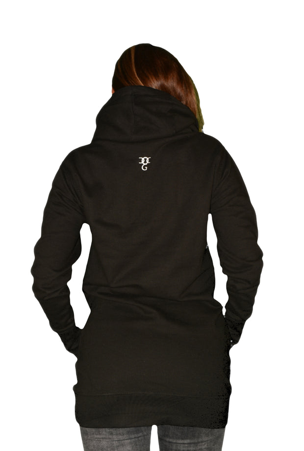 Womens Black/Red/White Heart Hooded Top