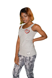 Womens Grey/Red/Black Heart Sleeveless T Shirt