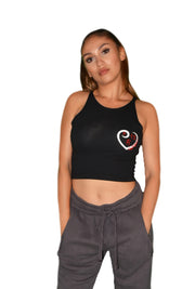 Womens Black/White/Red Heart Crop Top