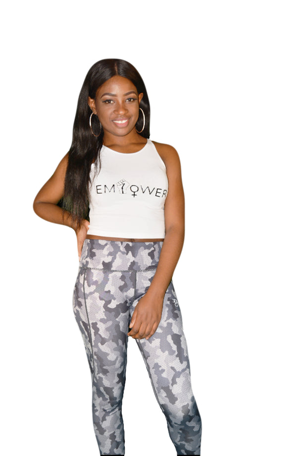 Womens White/Black Empower Crop Top
