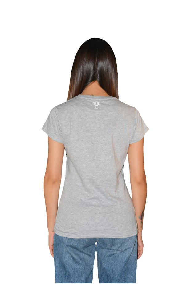 Womens Grey/Red/White Heart T Shirt