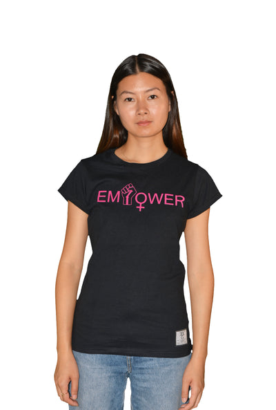 Womens Black/Pink Empower T Shirt