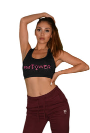 Womens Black/Pink Empower Crop Top