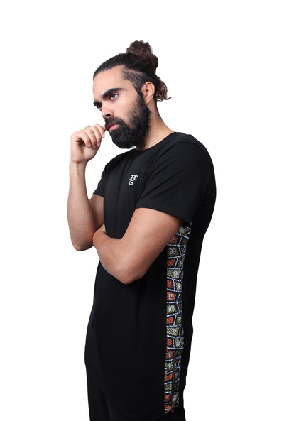 Mens O.G. African Inspired Black Long Panel T Shirt