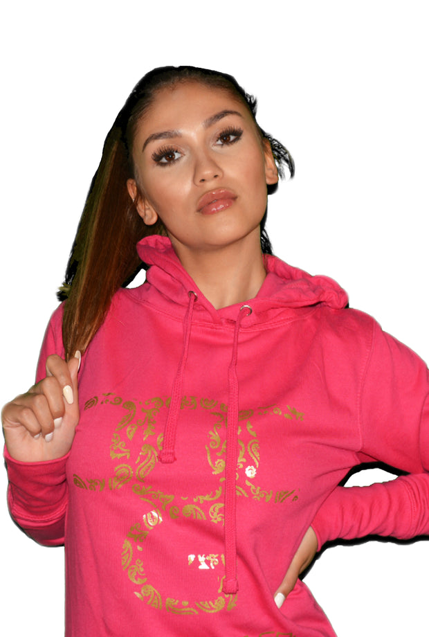 Womens Pink/Gold OG Paisley Hooded Top