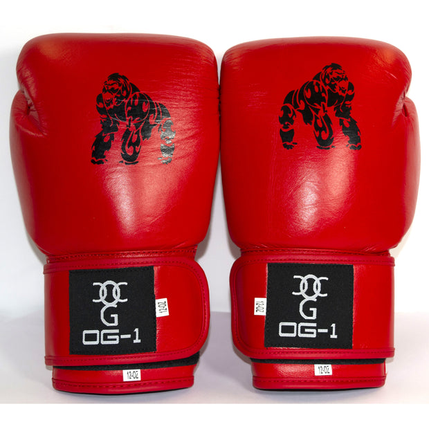 Boxing 'Match' Gloves - Red With Silver Back Design