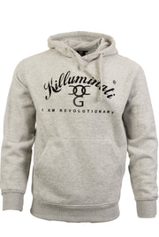 Mens Killuminati Heather Grey / Black Print Pullover Hooded Top