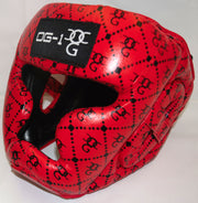 Boxing 'Designer Range' Red Leather Head Guard