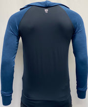 Mens Two tone OG1 sports lycra light and dark Blue hooded back