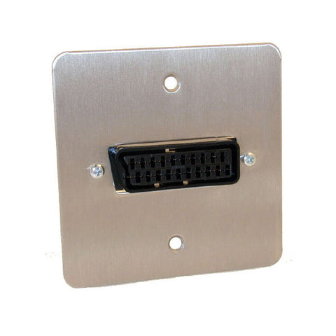 Scart With Quick Connect Wallplate (steel Finish)