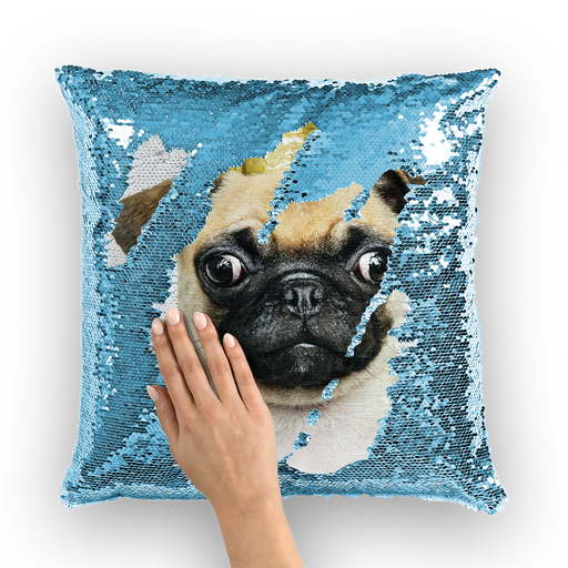pug king Sequin Cushion Cover