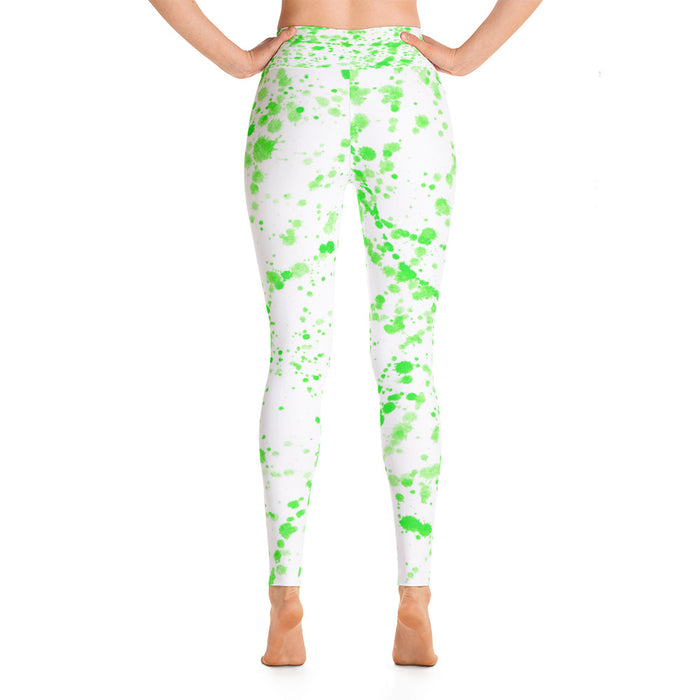 Green Spatter Yoga Leggings