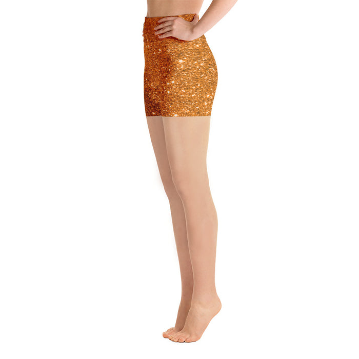 Cute Orange Glitter Yoga Shorts