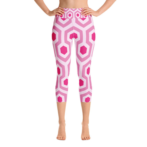 Pink Pentogram Yoga Capri Leggings