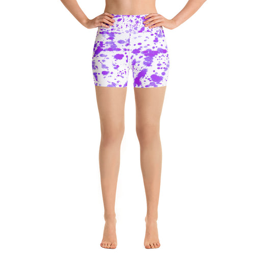 Cute Purple Spatter Yoga Shorts