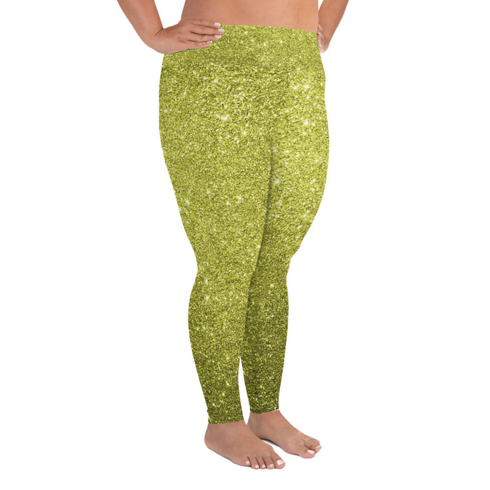 Gold Glitter Pattern Plus Size Yoga Leggings (up to 6XL ) - Cool XL Leggings - Women's Plus Sized Yoga Leggings – Plus Size Workout Pants – Plus Sized Gym Leggings