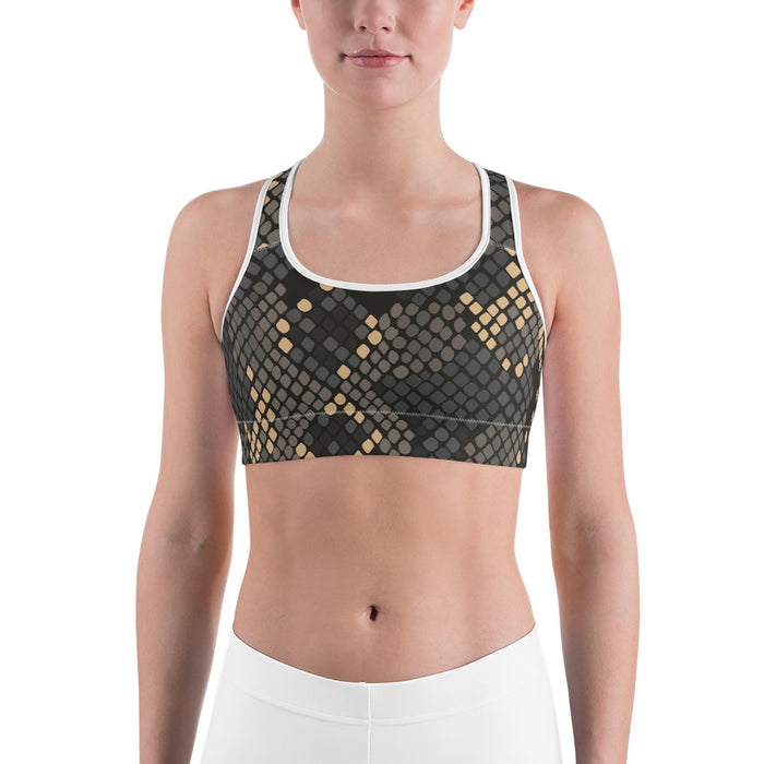 Cute Black and Gold Snake Pattern Sports Bra